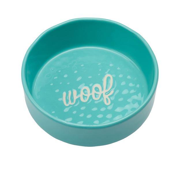 """Imagen de Bowl Perro """"Woof"""" Verde Agua"""